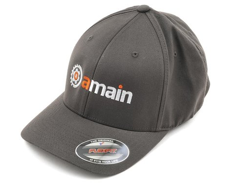 AMain FlexFit Hat w/Gears Logo (Dark Grey) (L/XL)