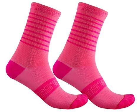 Castelli Superleggera 12 Women's Sock (Pink Fluo) (S/M)