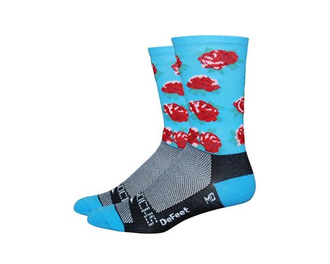 DeFeet Sako7 Blue/Red Rose Socks (Carolina Blue/Red Roses)