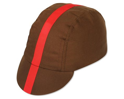 Pace Sportswear Classic Cycling Cap (Chocolate w/ Red Tape) (Universal Adult)