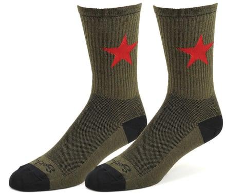 """Sockguy 6"""" Wool Socks (Red Star) (L/XL)"""