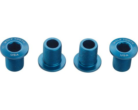 Wolf Tooth Components Set of Chainring Bolts (Blue) (10mm Long) (4)