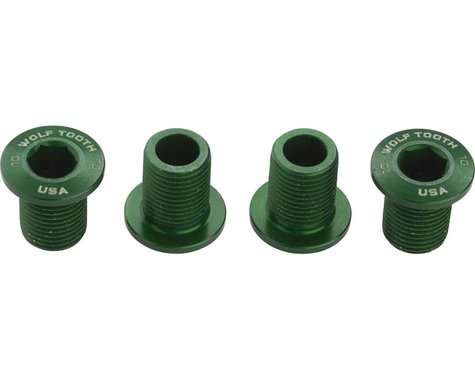 Wolf Tooth Components Set of Chainring Bolts (Green) (10mm Long) (4)